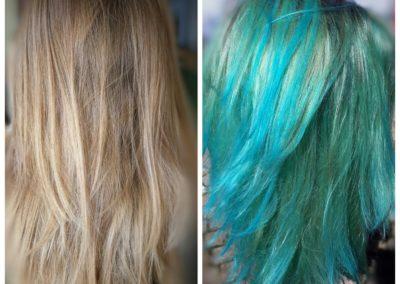 Cheveux bleu turquoise